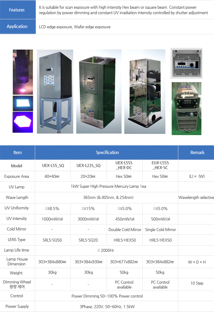 Model : Exposure Area, UV Lamp, Wave Length, UV Uniformity, UV Intensity, Cold Mirror, LENS Type, Lamp Life time, Lamp House, Dimension, Weight, Dimming Wheel, 광량 제어, Control, Power Supply