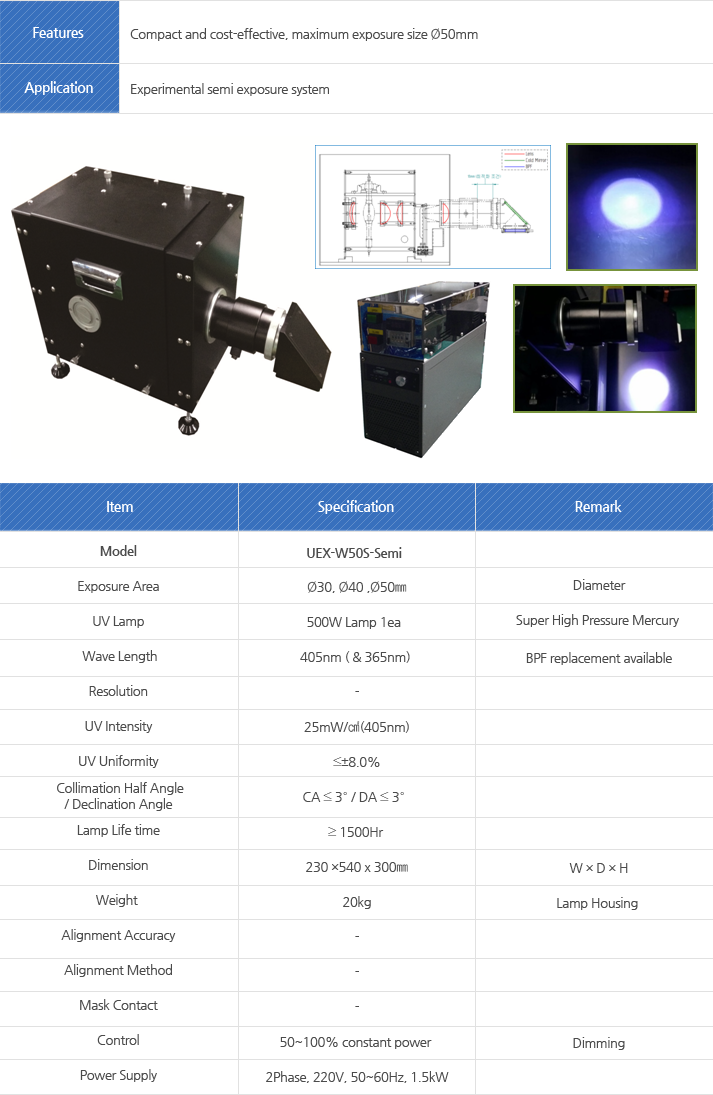 Model, Exposure Area, UV Lamp, Wave Length, Resolution, UV Intensity, UV Uniformity, Collimation Half Angle, Declination Angle, Lamp Life time, Dimension, Weight, Alignment Accuracy, Alignment Method, Mask Contact, Control , Power Supply
