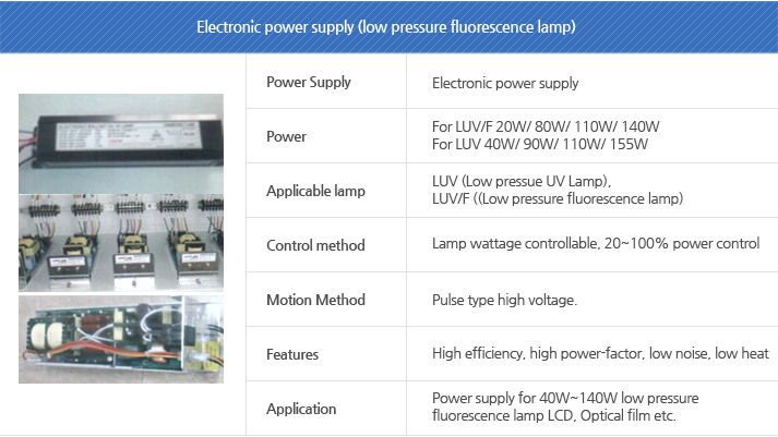 Electronic power supply (low pressure fluorescence lamp)