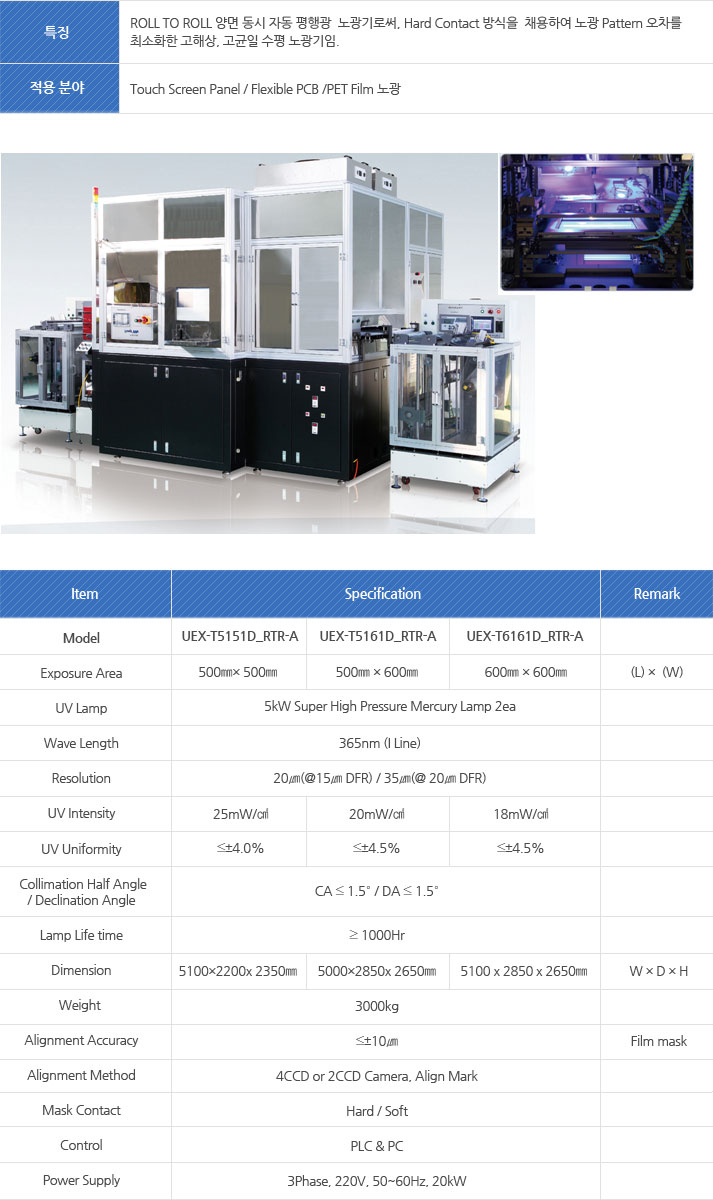 Model : Exposure Area, UV Lamp, Wave Length, Resolution, UV Intensity, UV Uniformity, Collimation Half Angle, Declination Angle, Lamp Life time, Dimension, Weight, Alignment Accuracy, Alignment Method, Mask Contact, Control  Power Supply